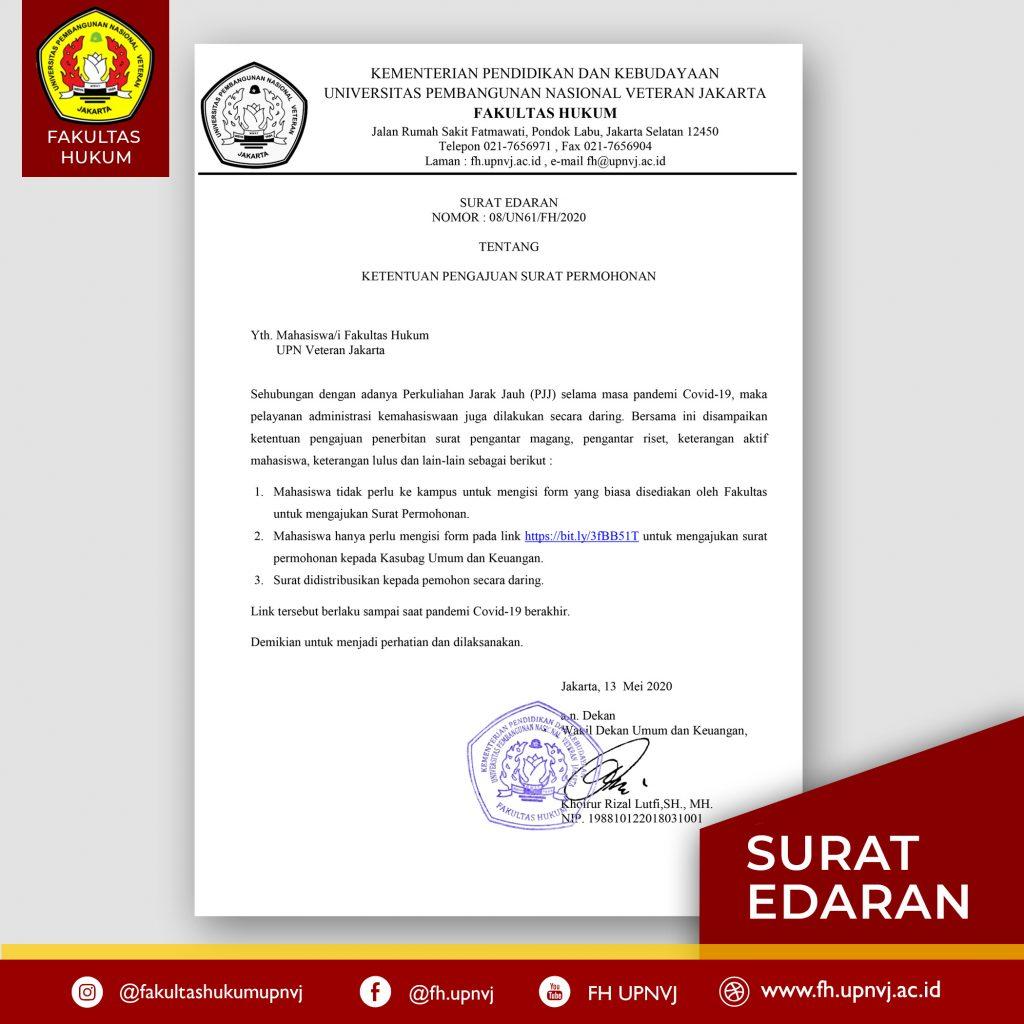 surat edaran tentang ketentuan permohonan