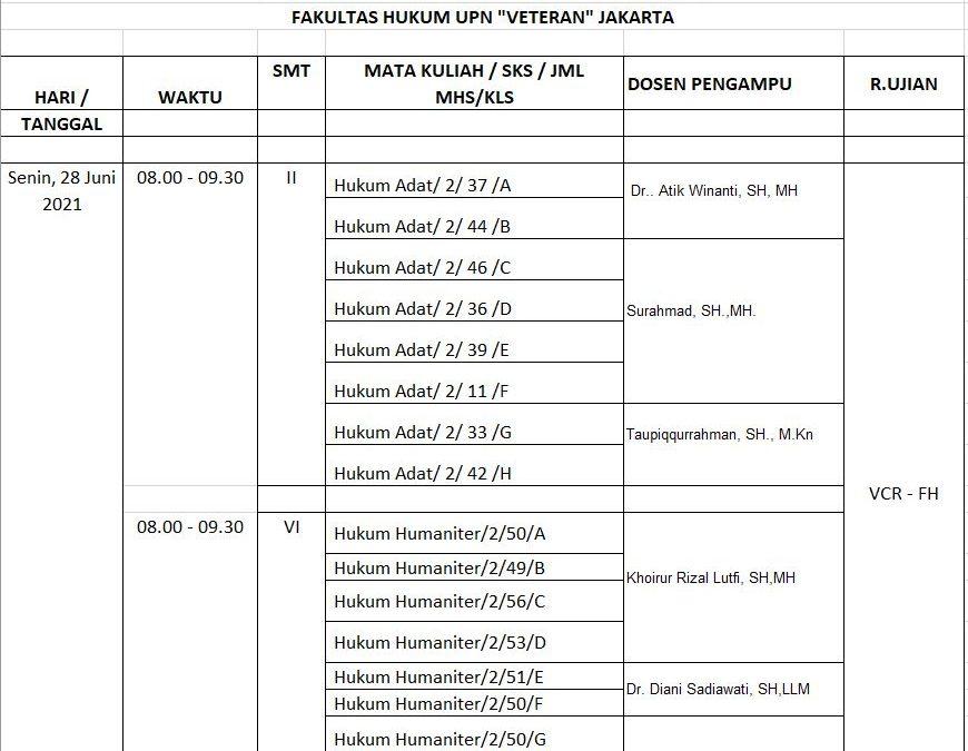 JADWAL UAS TA 2020/2021 GENAP