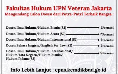 Fakultas Hukum UPN Veteran Jakarta mengundang calon dosen dari putra putri terbaik bangsa.