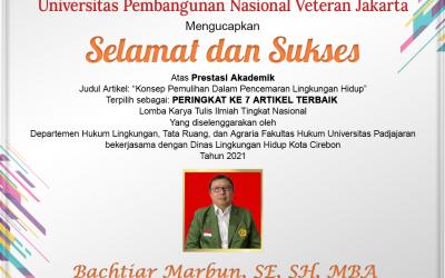 Mahasiswa Magister Hukum Fakultas Hukum UPN Veteran Jakarta Menerima Prestasi Akademik PERINGKAT KE 7 ARTIKEL TERBAIK
